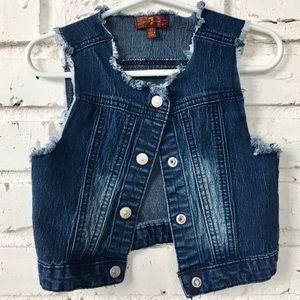 7 𝑓𝑜𝑟 𝑎𝑙𝑙 𝑚𝑎𝑛𝑘𝑖𝑛𝑑 Girls Denim Vest